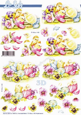 Chicks Hatching From Decorated Easter Eggs 3d Decoupage Sheet from Le Suh